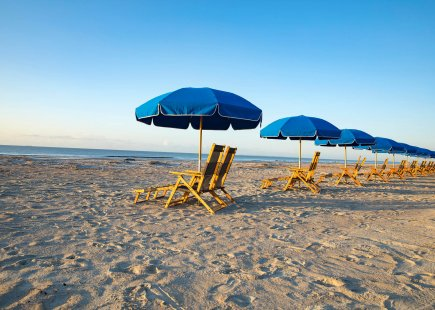 blue umbrella chairs line a beach front